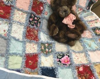 Handmade Bohemian Style Rag Quilt - Crib
