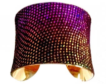 Purple and Gold Metallic Rhinestone Print Leather Cuff Bracelet - by UNEARTHED