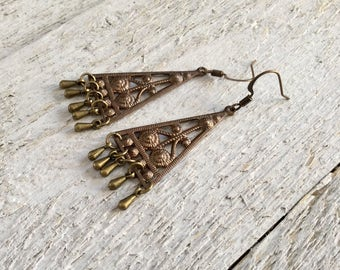 "Antique Brass Earrings / One-of-a-Kind / Brass Teardrop Charms / Drop / Dangles / Textured / Triangles - 2 1/4"" long"