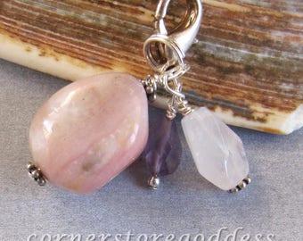 Pink Opal Amethyst Rose Quartz Love Charm Zipper Pull EHAG