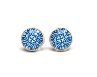Blue Stud Earrings  Blue Geometric Stud Earrings - Blue Post Earrings. Spring Fashion  Blue Earrings. Hypoallergenic