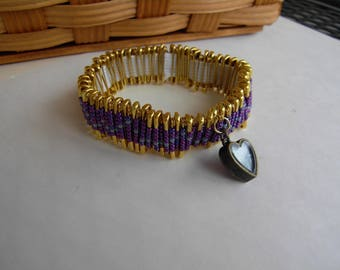 Purple and Blue Beaded Safety Pin Bracelet