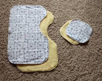 Baby Burp Cloth Set - Arrows - Contoured - Mini - Gender Neutral