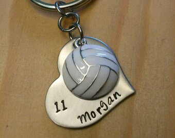 Hand Stamped Personalized  Volleyball Keychain - Girls Volleyball Keychain - Volleyball Team Gift - Volleyball Gifts