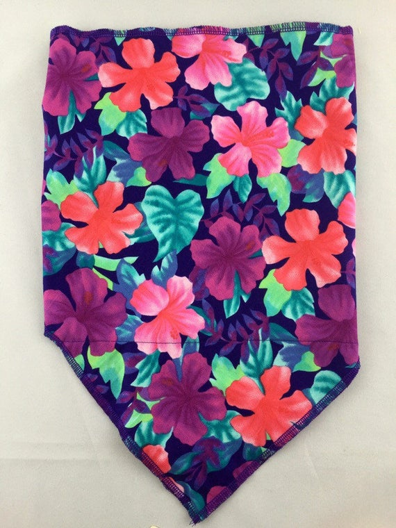 Jungle Flower: Cotton Bandana w/ Tropical Flowers in Purple, Coral and Teal w/ Secret Pocket