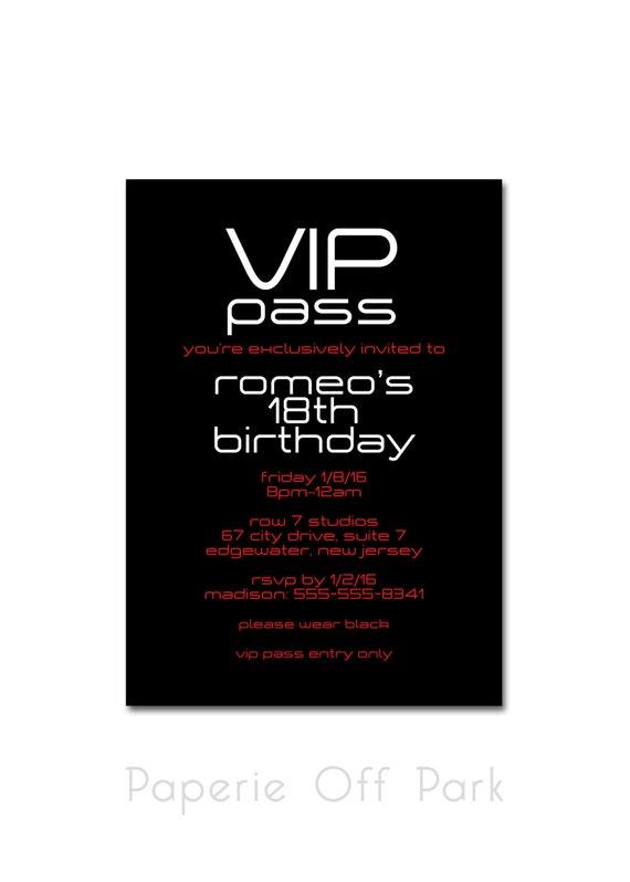 Birthday party 5x7 invitation vip pass black white and stopboris Choice Image