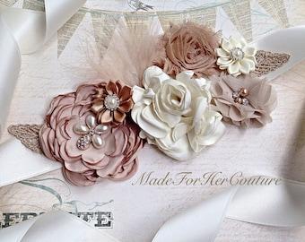 Wedding sash, tan ivory wedding belt Sash, bridal sash/belt, Bridal Belt, Mauve Nude Sash, Bridesmaid Sash/Belt, Maternity Sash belt
