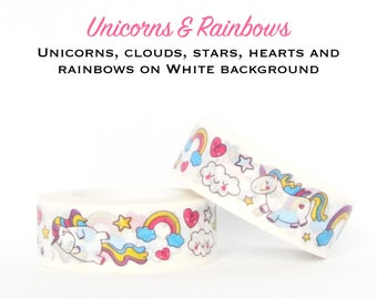 UNICORNS & RAINBOWS on White Background Washi Tape - Paper Craft - Scrapbooking - Gift Wrapping - Tape