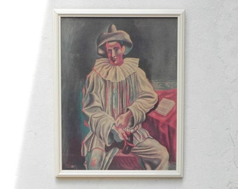"""Framed Picasso """"Pierrot"""" Print on Textured Board Wall Hanging"""