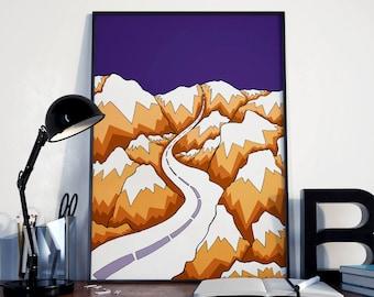 The winding road ( purple)