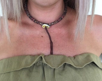 Boho wrapped cord textile choker necklace - brown batik