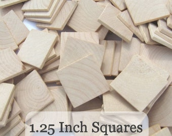 Unfinished Wooden Squares 1 1/4 inch, Pack of 100