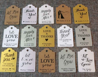 20 CUSTOM Wedding Favor Tags for Succulents - Let Love Grow / Thank You Tags - The Succulent Source