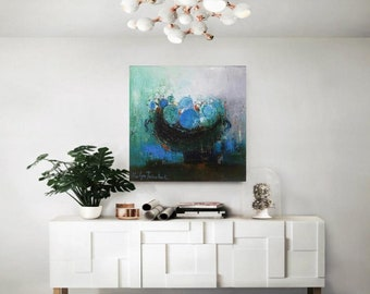 Teal blue and black modern still life print 12x12 from original oil on canvas,Modern Contemporary Abstract painting black dish with fruits