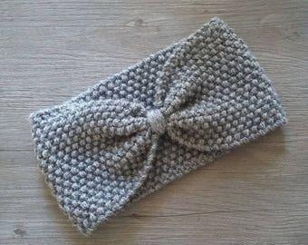 Grey wool headband - adult size