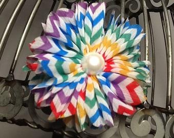 Rainbow hair clip: Flower hair clip hair accessory in rainbow chevron print, girls hair clips, hair accessories