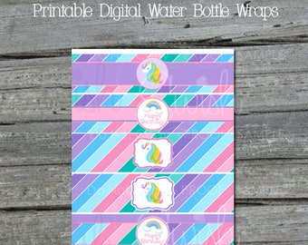 Unicorn Water Bottle Labels | Unicorn Party Supplies | Digital Unicorn Party Decor | Rainbow Unicorn | Digital download | Water Bottle Wraps