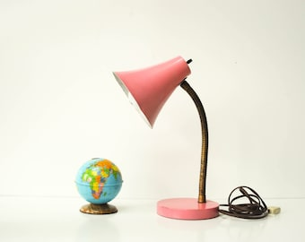 Vintage Pink Goose Neck Desk Lamp - Task Lamp