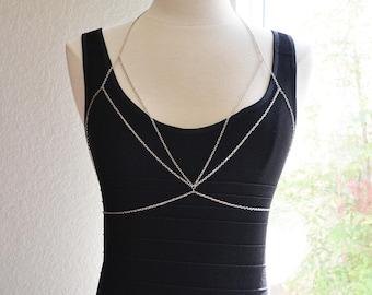 Silver Geometric Body Chain Bralette
