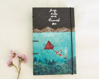 Acrylic painting cover notebook handmade or journal made to order paint camping with fox