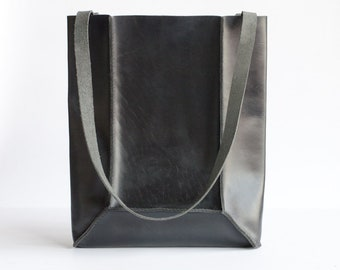 Black Leather Mini Tote