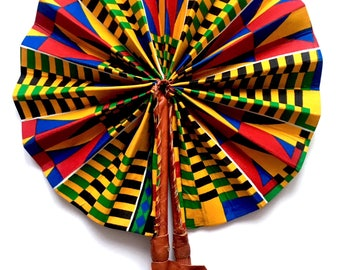 Foldable Kente Print Handheld Fan
