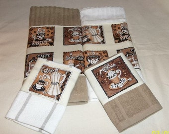 4 Piece Expresso Coffee Latte Mocha Java Designer Kitchen Dish Towel and Dish Cloth Set One of A Kind