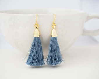 Dusty Blue Grey and Gold Tassel Earrings