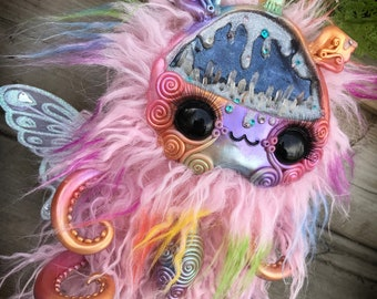 Pink Prism the rainbow lord limited edition// art doll toy creature rainbows plush crystals cavern creepy cute