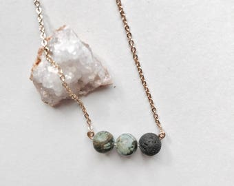 Three Bead Essential Oil Diffuser Necklace I Essential Oil Accessories I Gifts For Her