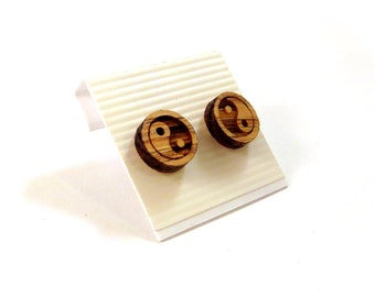 Yin Yang Oak Wooden Post Earrings - Small - Sustainable Wood Symbol Ear Studs