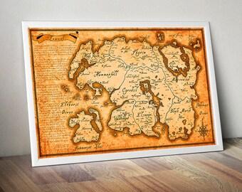 Tamriel map etsy the elder scrolls map tamriel map skyrim map morrowind map oblivion map gumiabroncs Gallery