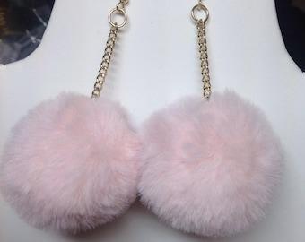 Pom Pom Earrings/Baby Blue Pink White Black Gray Purple/Pom Pom Earrings/Fur Ball Pom Pom Earrings/Harajuku Fashion/Kawaii-Pastel/Larme Kei