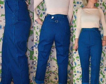 Vintage DEADSTOCK 1950's RARE!! BUCKLE Back HiGH  Waisted BRiGHT Blue Herringbone ROCKABiLLY Denim Jeans