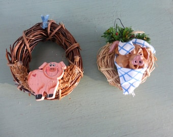 Set of 2 Vintage Wreath Pig Ornaments