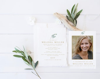 White floral greenery funeral announcement invitation mourning floral greenery funeral announcement invitation mourning invitation cards memorial service in loving memory funeral editable template stopboris Gallery