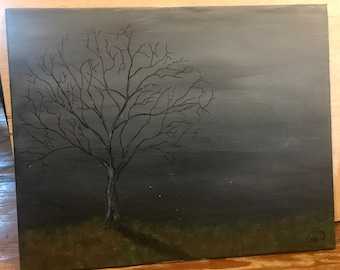 Dead tree creepy painting