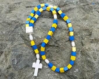 The Original MementoMoose Rosary Made with Lego Bricks - Blue and Yellow Catholic Rosary
