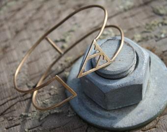 """Cuff Bracelet /Triangle Geometric Cut Outs ~ """"Veda"""""""