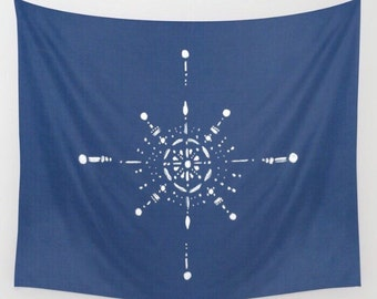 Navy Blue & White Design Wall Tapestry, navy blue tapestry, blue wall tapestry, wall hanging, nautical tapestry, compass tapestry