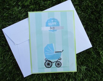 """""""Boy"""" birth congratulations card or for baby shower"""