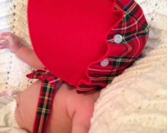 Christmas Red Plaid Ruffled Bonnet