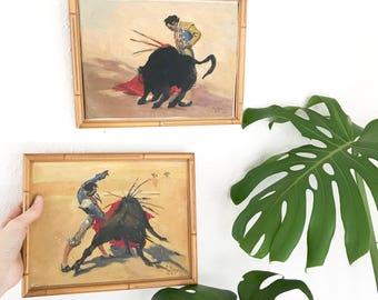 Vintage Original Matador Paintings • Bull fighter Set of 2 • Bohemian Decor