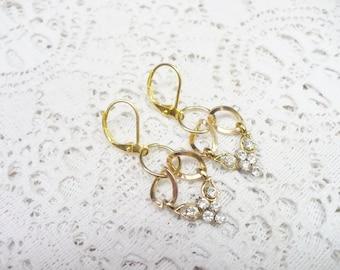 Vintage Handmade RHINESTONE Earrings-vintage repurposed - gold tone metal -lever back ear wire - assemblage earrings - Bridesmaid - One (1)