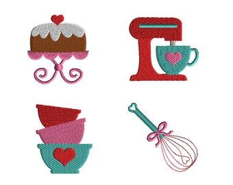 Mini Kitchen Machine Embroidery Design Set-INSTANT DOWNLOAD