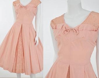 50s Pink Linen Swing Dress-1950s Summer Dress-Lace-Full Skirt-Tea Length-Garden Party-Wedding-M-Medium