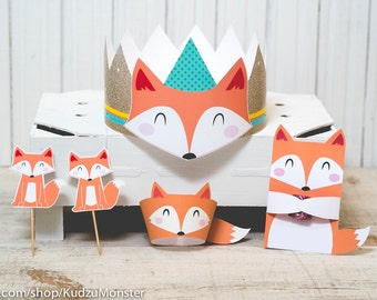 Fox woodland birthday Party printable decor kit cute fox cupcake topper cupcake wraps print at home birthday crown party candy favor