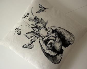 Human lung heart growing wild flowers and orchids butterflies silk screened pillow 18 inch BLACK