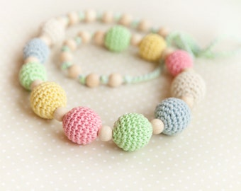 Delicate colors Teething Necklace - Nursing necklace - pastel rainbow - Easter spring