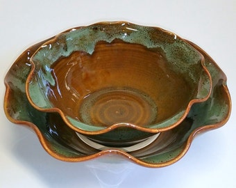 Green and Amber Wheel Thrown Pottery Bowl - Scalloped Bowl